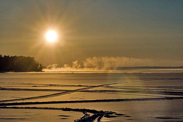 Sebago Lake snow cover